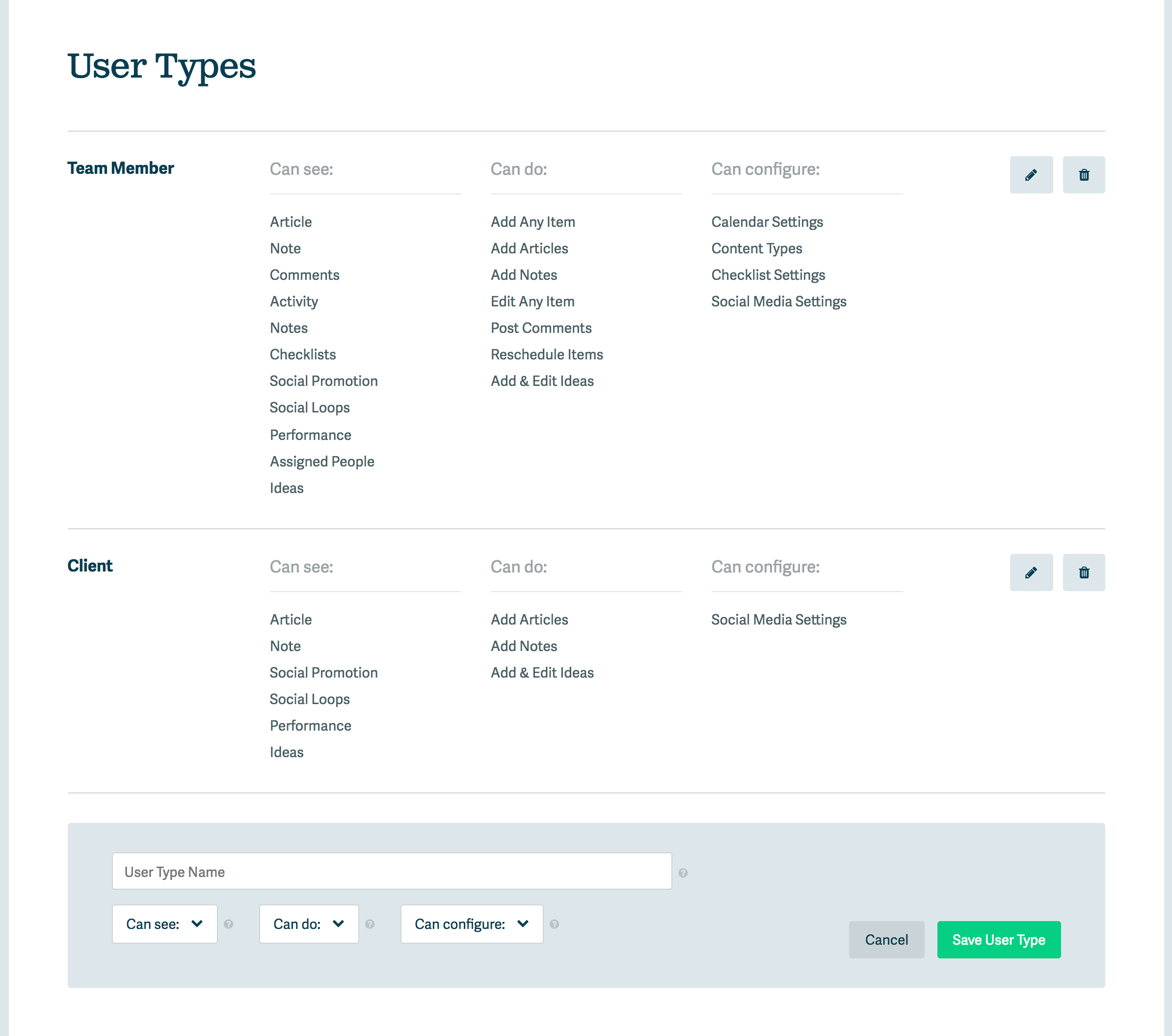 User Types interface